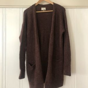 Wilfred Free // Aritzia long brown cardigan